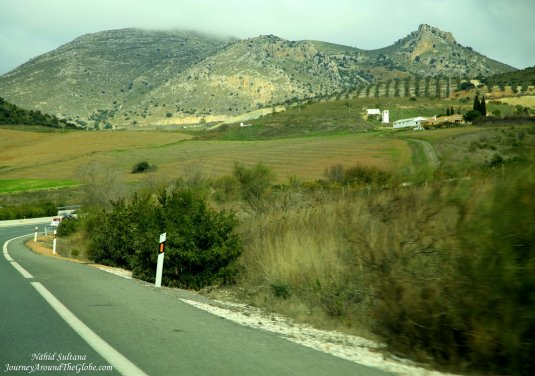 Driving from Malaga to Granada...beautiful Andalusian landscape