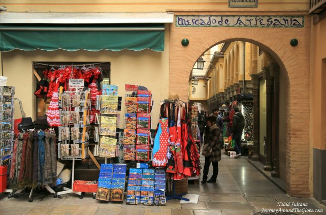 An entrance to the Moroccan market near Granada Cathedral in Granada, Spain