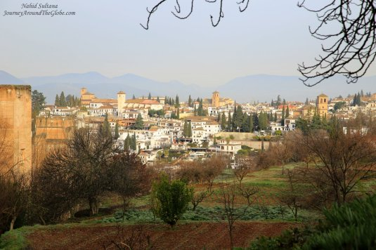 Stunning view of Granada and Sierra Nevada Mountains from Alhambra