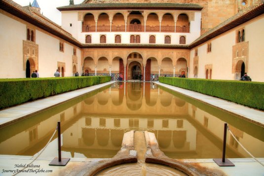 """Court of the Myrtles"" of Nasrid Palace in Alhambra - Granada, Spain"