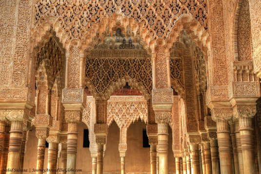 Fascinating architecture of Nasrid Palace (near Fountain of the Lions) in Alhambra