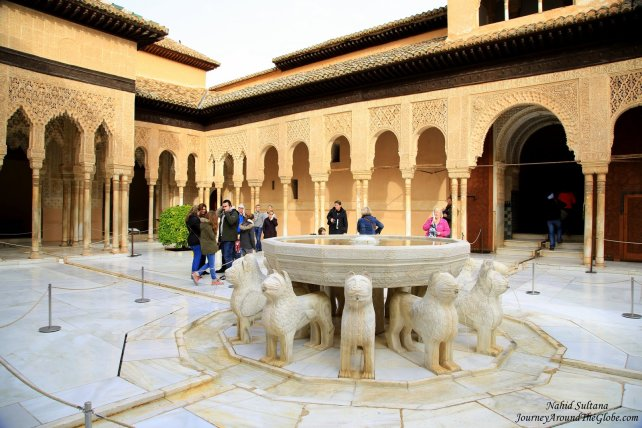 """The Fountain of the Lions"" in Nasrid Palace of Alhambra - Granada, Spain"