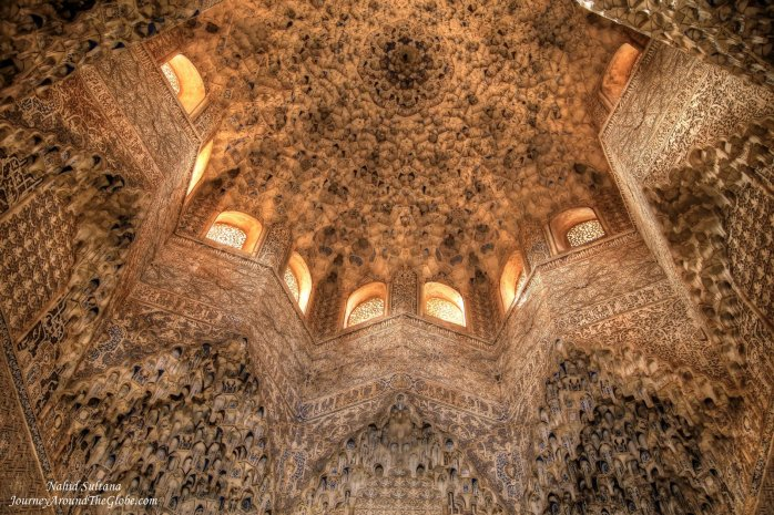 "The ornate ceiling of ""Hall of Two Sisters"" in Nasrid Palace of Alhambra - Granada, Spain"