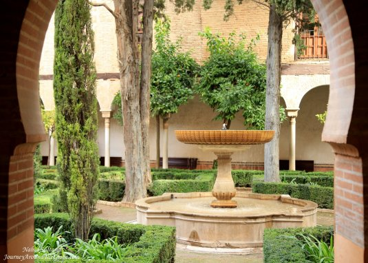 One of countless gardens of Alhambra in Granada, Spain
