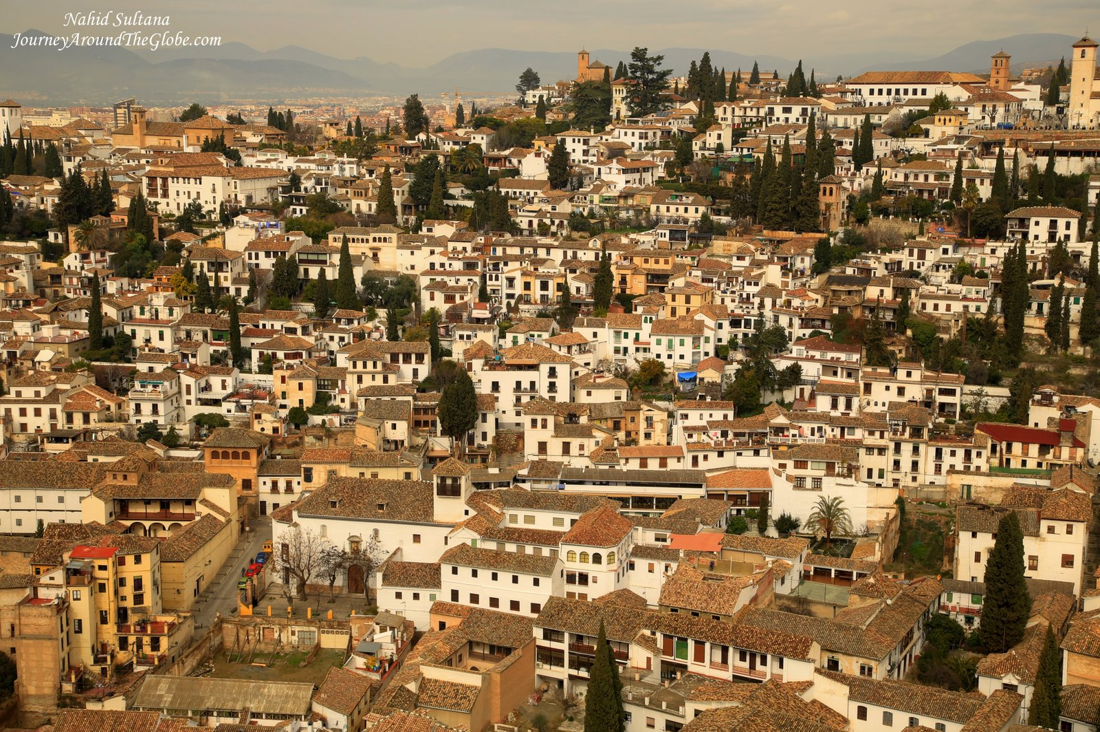 Another stunning view of the whole city of Granada in Spain from Alhambra