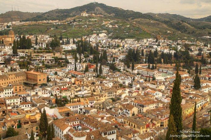 View of Granada from Alhambra in Granada, Spain