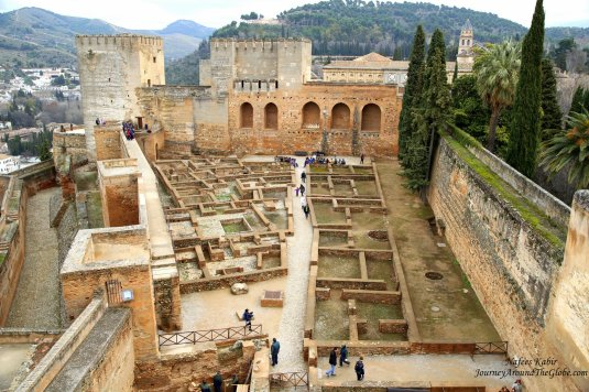 Looking over the ruins of Alcazaba, Alhambra from Torre de la Vela (Watchtower) in Granada, Spain