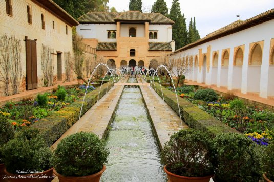 A peaceful garden in Generalife of Alhambra in Granada, Spain