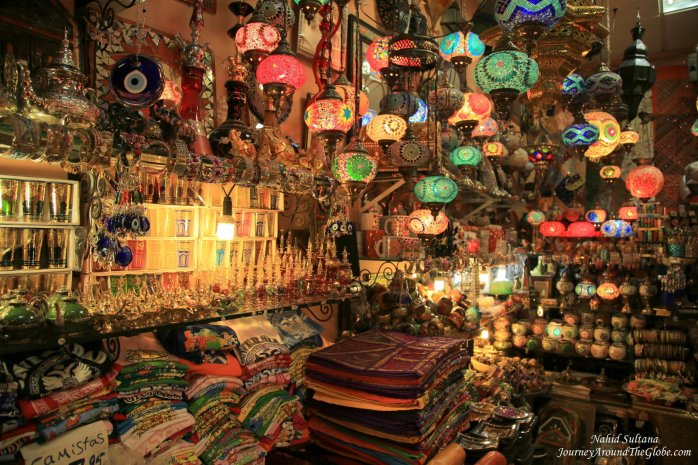 One of the stores of Moroccan bazaar in Granada, Spain