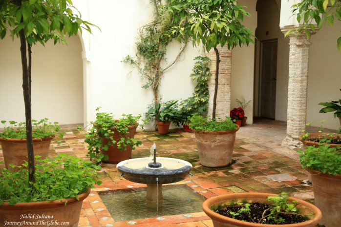 A lovely courtyard of our hotel in Cordoba, Spain