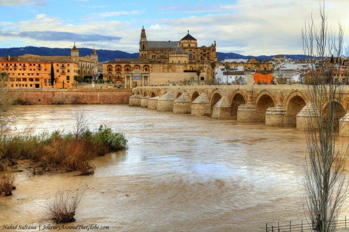 Roman Bridge as we were walking along River Guadalquivir in Cordoba, Spain