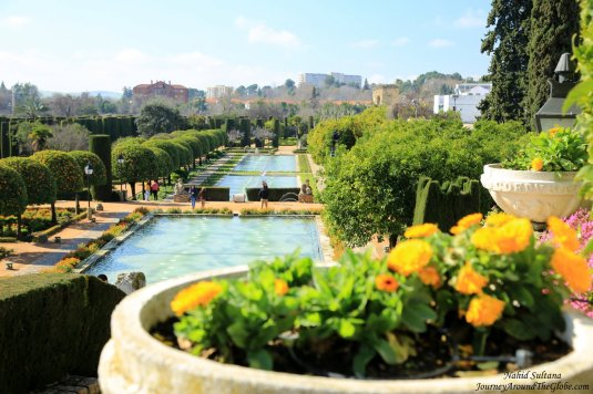 Gardens and fountains of Alcazar de los Reye Cristianos in Cordoba, Spain