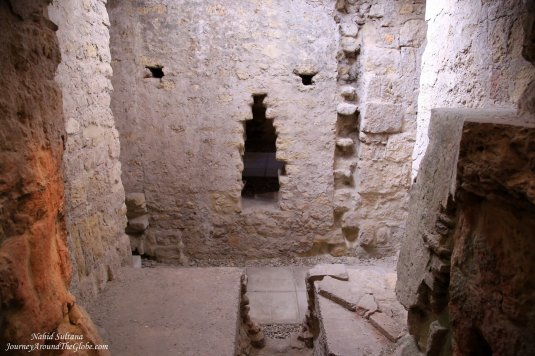 Where the furnace used to be inside the Baths of Caliphates in Cordoba, Spain