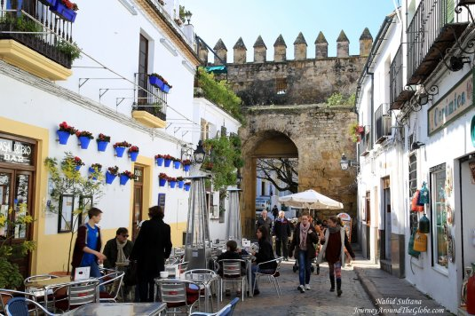 Old city wall and Almodovar Gate in the old town of Cordoba, Spain