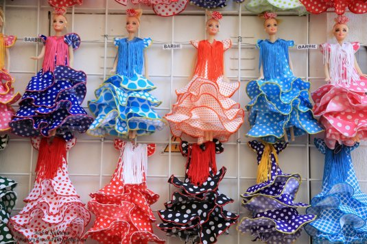 Flamenco dresses for Barbie in Cordoba, Spain - how cute is that?