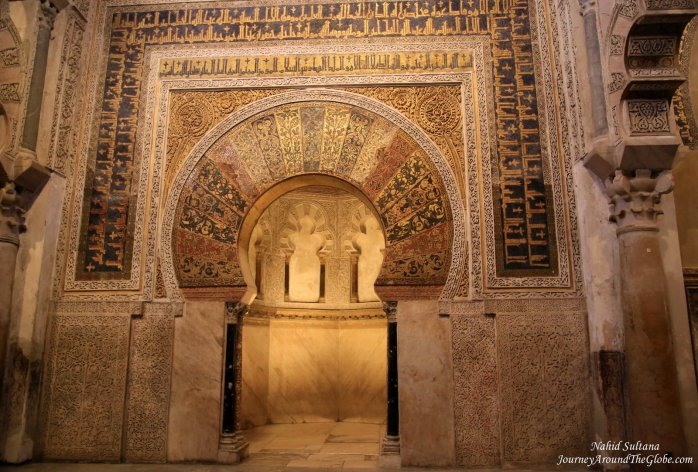 The original Mihrab of Mosque Cathedral in Cordoba, Spain