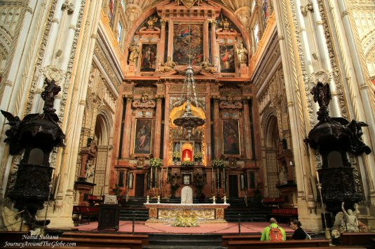 Gorgeous main altar of Mosque Cathedral in Cordoba, Spain