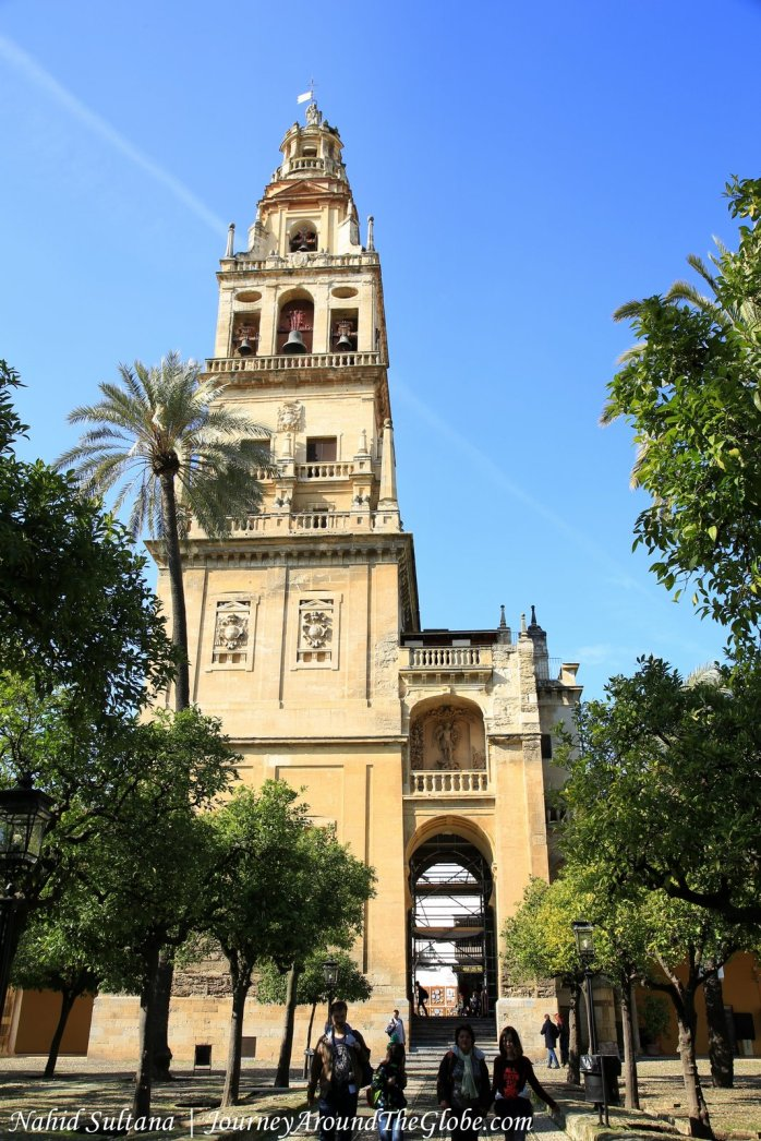 Bell Tower of Mosque Cathedral or Mezquita in Cordoba, Spain