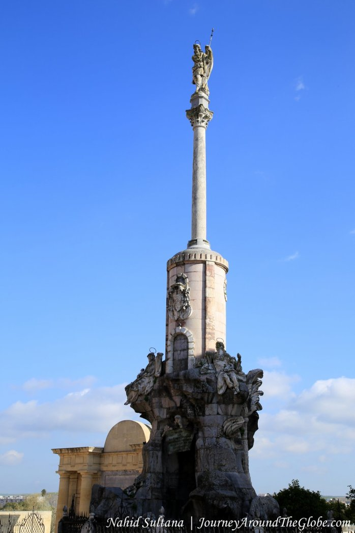 San Rafael's Triumph at one end of Roman Bridge in Cordoba, Spain