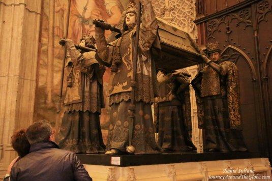 Tomb of famous Spanish explorer Christopher Columbus inside Seville, Spain