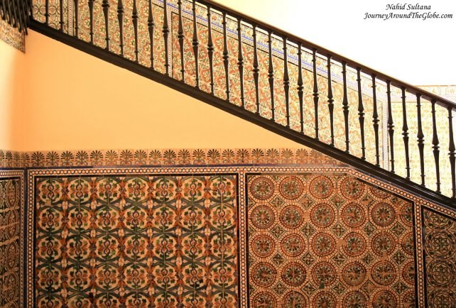 A majestic staircase of Real Alcazar of Seville, Spain