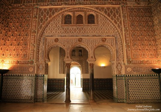 Gorgeous interior of Real Alcazar in Seville, Spain