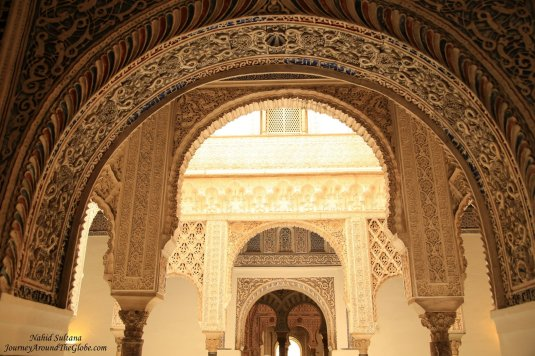 Beautiful arched doors of Real Alcazar in Seville, Spain