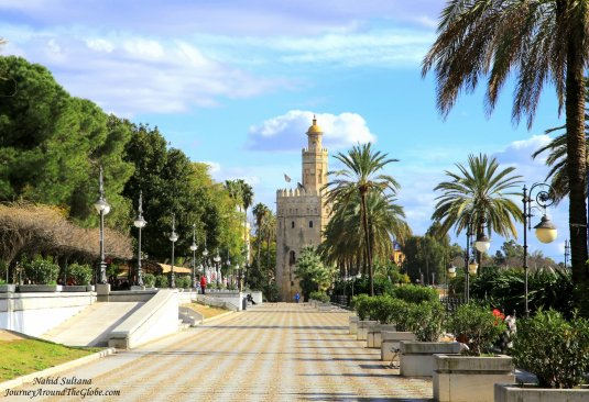 Torre de Oro, a 13th century tower in Seville, Spain