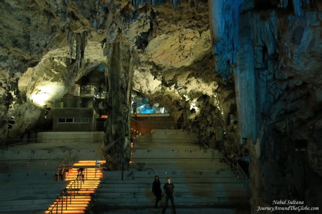 The entrance and main hall of St. Micheal's Cave in Gibraltar