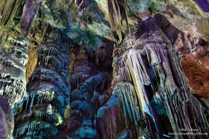 St. Micheal's Cave in Gibraltar, the color is not natural, it's created from the inside lighting system