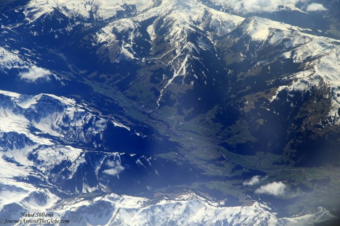 Looking down at the Alps from our plane before reaching Podgorica Airport in Montenegro
