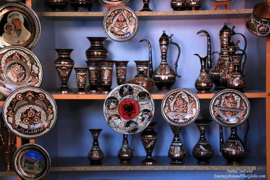 Some hand-crafts from Kruja, Albania - these are handmade souvenirs with silver and copper