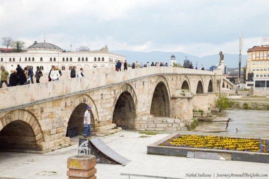 Stone Bridge on River Vardar in the heart of Skopje, Macedonia