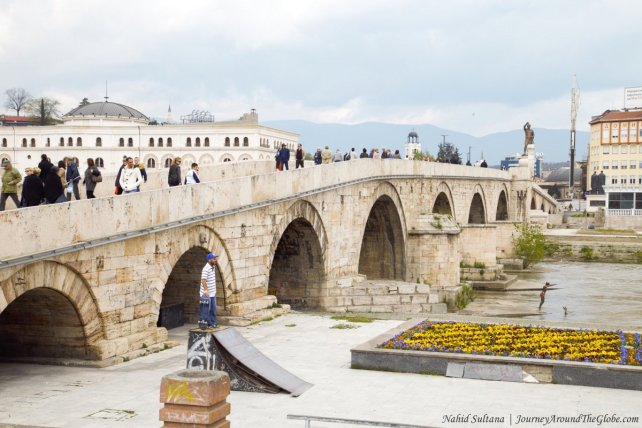 Stone Bridge on River Vardar in the heart of Skopje, Macedonia