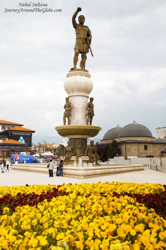 Statue of a national hero of Macedonia near Old Bazaar in Skopje