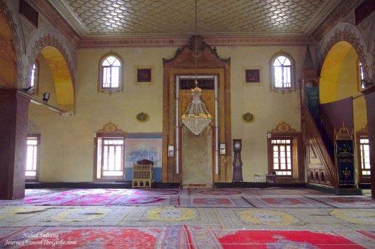 Inside Sultan Murat Mosque - a 15th century mosuqe in Skopje, Macedonia
