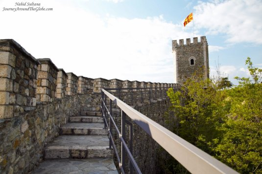 Walking on the old defense wall of Skopje Kale Fortress in Macedonia - the oldest settlement in Skopje