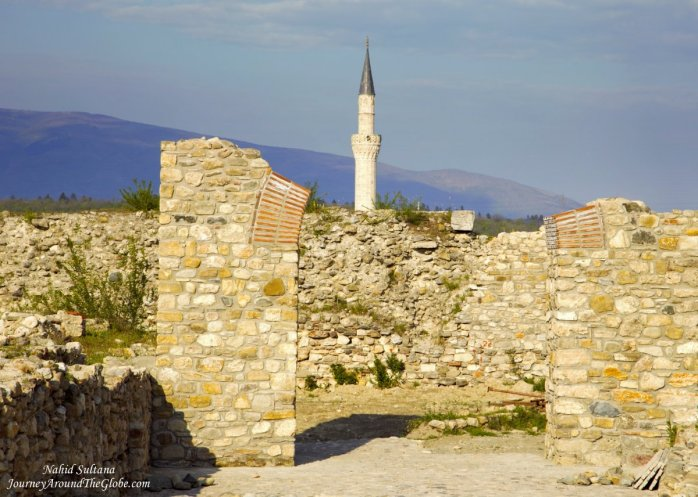 Some ruins of Kale Fortress and minaret of Mustafa Pasha Mosque in the back in Skopje, Macedonia