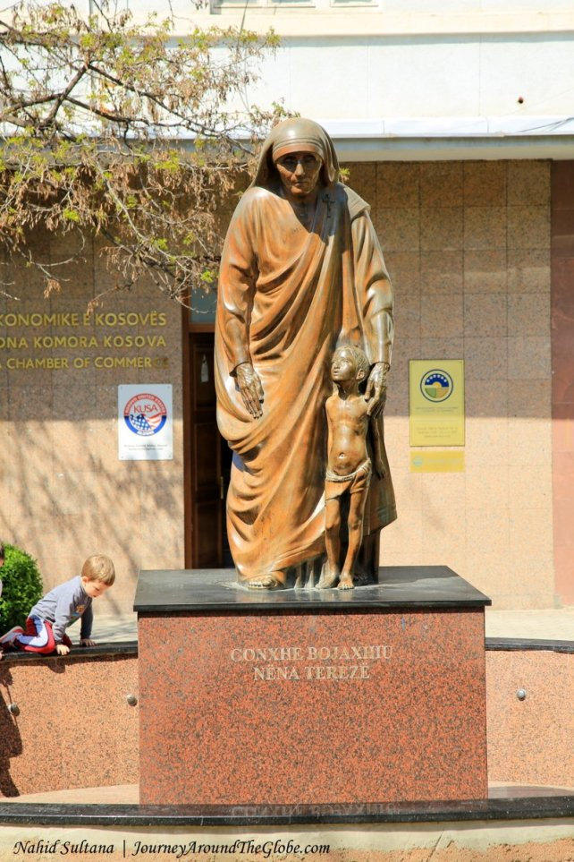 A statue of Mother Teresa in Mother Teresa Street in Pristina, Kosovo