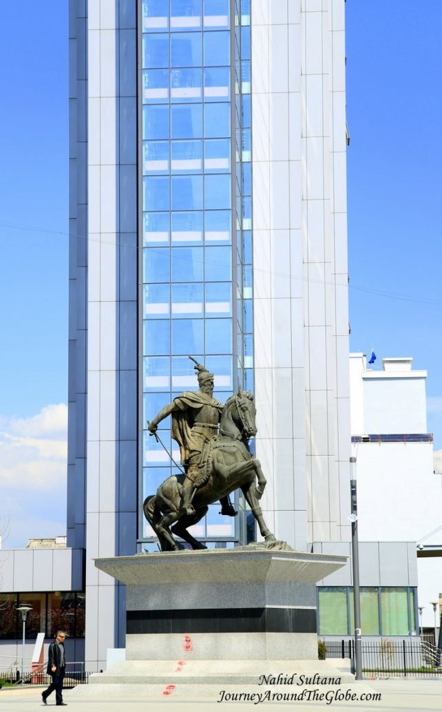 Iskander Beg on his horseback in Mother Teresa Street in Pristina, Kosovo