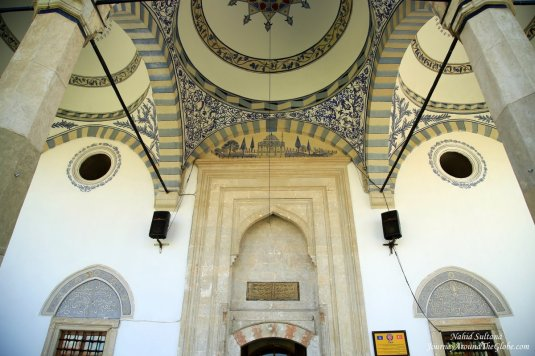 The grand entrance of King Mosque in Pristina, Kosovo