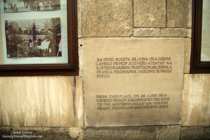 The exact spot where Austro-Hungarian heir to the throne Prince Franc Ferdinand and his wife Sofia were assassinated, right outside Museum of Sarajevo