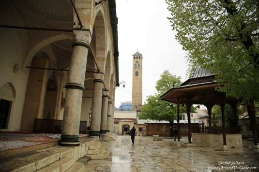 Grand Bey's Mosque and its courtyard in Sarajevo