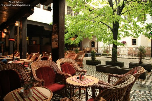 Peaceful courtyard of Morica Han - a hotel/inn from the Ottoman's period in Sarajevo