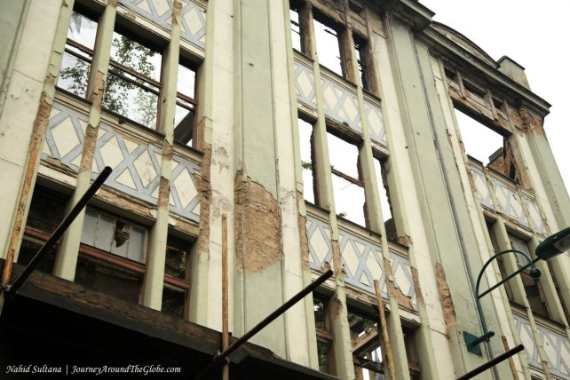 A damaged building from the war in 1992-1995 in Sarajevo