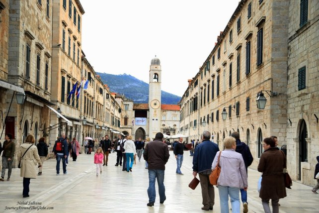 Stradun, Place - the main pedestrian street of old Dubrovnik, Croatia