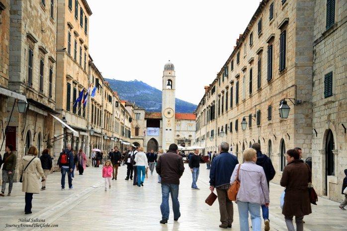 Stradun, Place - the main pedestrian street of old Dubrovnik, Croatia