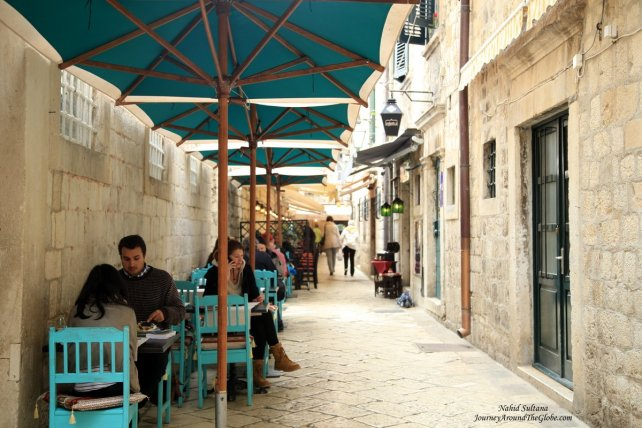 Some appealing cafes and restaurants in small alleys of Old Dubrovnik, Croatia