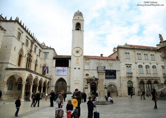 Bell Tower and Ronaldo's Statue at the east end of Stradun