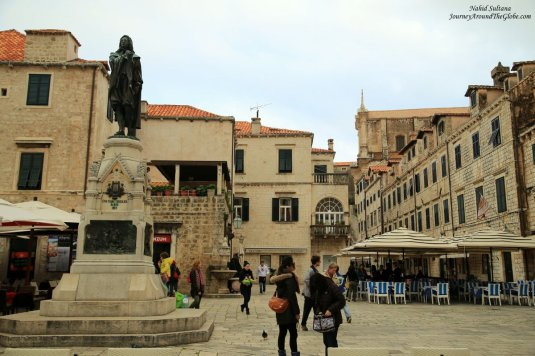 Gundulic Square in old Dubrovnik, Croatia - square was named after a Baroque poet, Ivan Gundulic